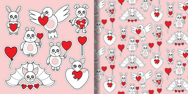 Ensemble d'animaux avec impression de coeurs et motif sans couture ensemble de jouets pour enfants avec des signes d'amour pour le papier peint