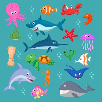 Ensemble d'animaux marins de dessin animé