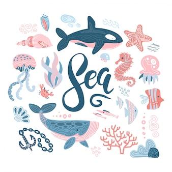 Ensemble d'animaux marins