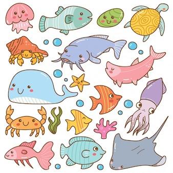 Ensemble d'animaux de mer kawaii doodles