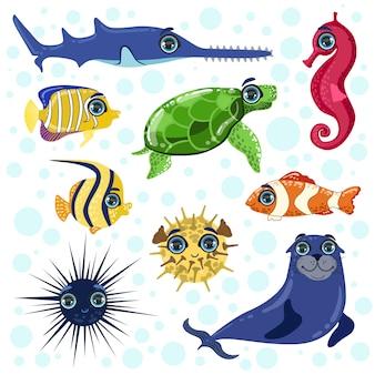 Ensemble d'animaux de mer