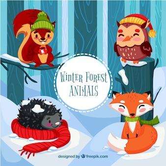 Ensemble d'animaux mignon hiver
