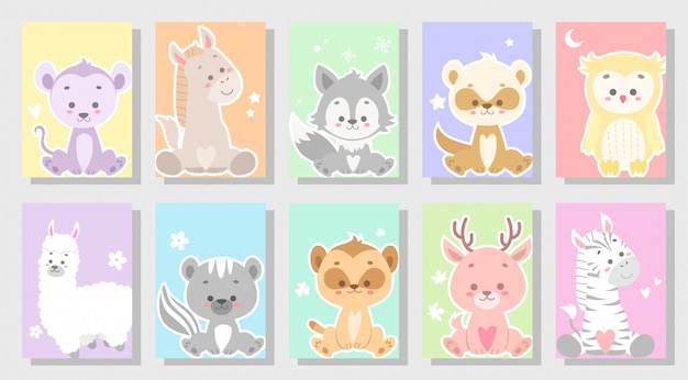 Ensemble d'animaux mignon mignon