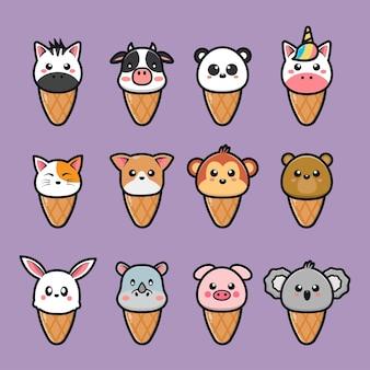 Ensemble d'animaux mignons de crème glacée