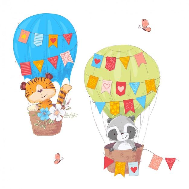 Ensemble d'animaux mignons dessin animé lion et le raton laveur dans un ballon avec des fleurs et des drapeaux
