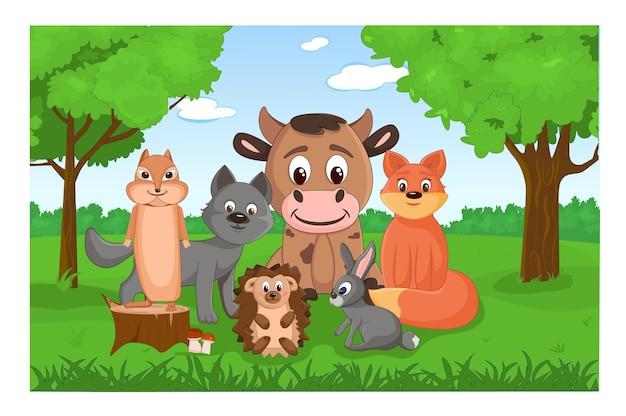 Ensemble d'animaux mignons de la forêt dans la forêt