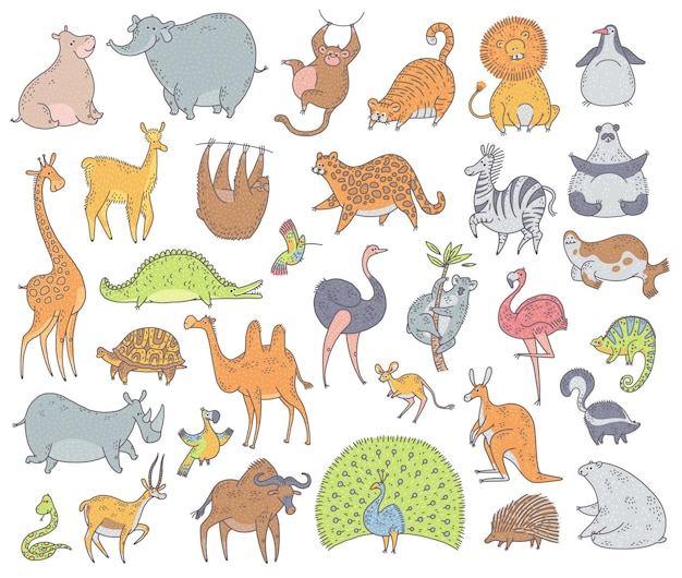 Ensemble d'animaux mignons. illustration de personnages de dessin animé de vecteur doodle sur fond blanc.