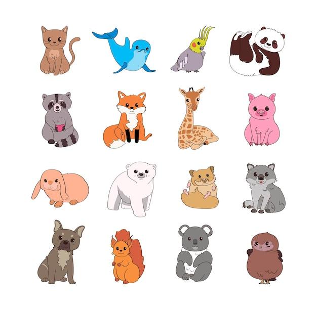 Ensemble d'animaux mignons. illustrations pour enfants pour créer des autocollants, des cartes postales, des livres.