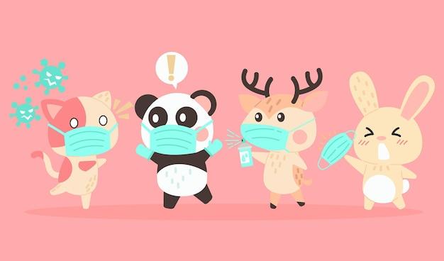 Ensemble d'animaux mignons portant des masques médicaux