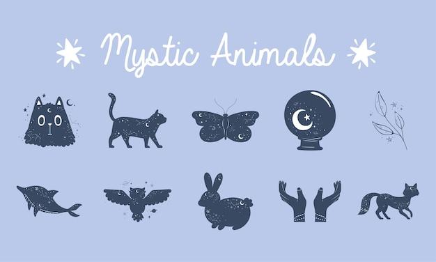 Ensemble d'animaux mystiques