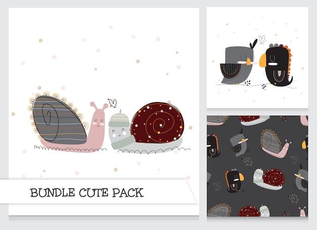 Ensemble d'animaux plats de dessin animé mignon collection