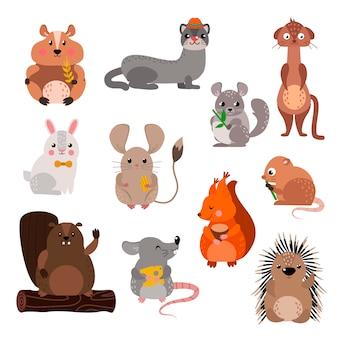 Ensemble d'animaux de rongeurs de dessin animé.