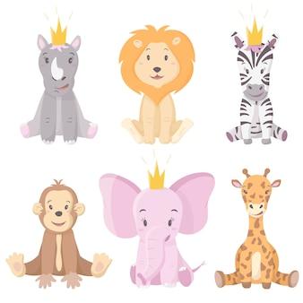 Ensemble d'animaux sauvages d'afrique de dessin animé. mignons animaux assis en couronnes.