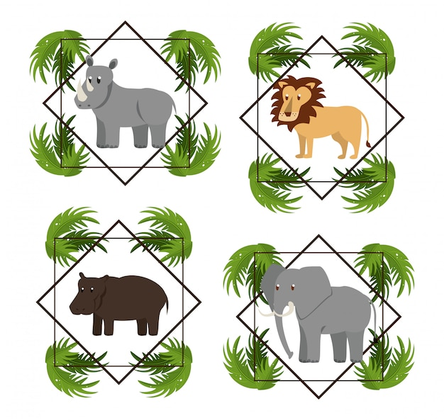 Ensemble d'animaux sauvages d'afrique