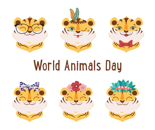 L'ensemble d'animaux sauvages de dessins animés les visages de tigres de la collection sont bons pour les conceptions de la journée mondiale des animaux