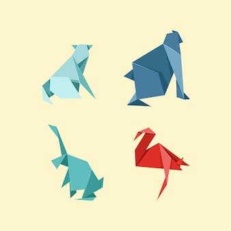 Ensemble d'animaux sauvages et de ferme en origami