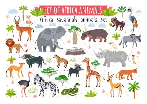 Ensemble d'animaux de la savane africaine