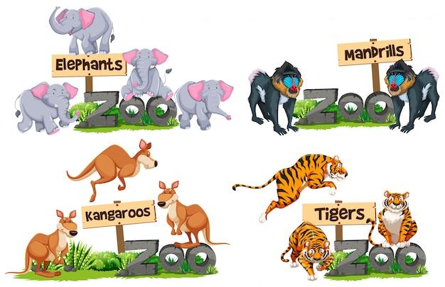 Un ensemble d'animaux et signe