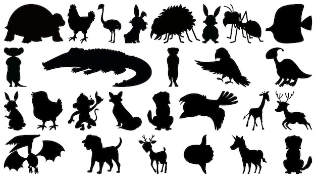 Ensemble d'animaux silhouette