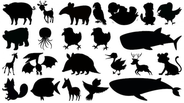 Ensemble d'animaux silhouette