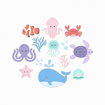 Ensemble d'animaux sous-marins de la mer mignonne