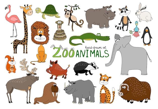 Ensemble d'animaux de zoo dessinés à la main sur blanc