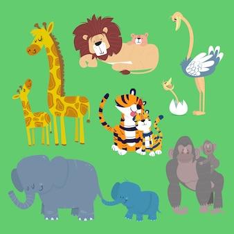 Ensemble d'animaux de zoo