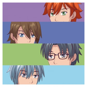 Ensemble d'anime visage masculin