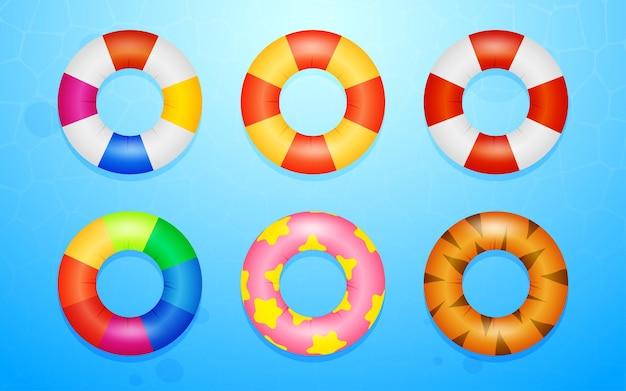 Ensemble d'anneaux de natation en caoutchouc collorfull