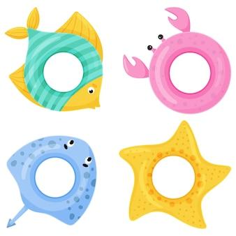 Ensemble d'anneaux de natation colorés