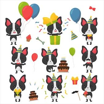 Ensemble d'anniversaire bulldog français kawaii avec personnage de gâteau