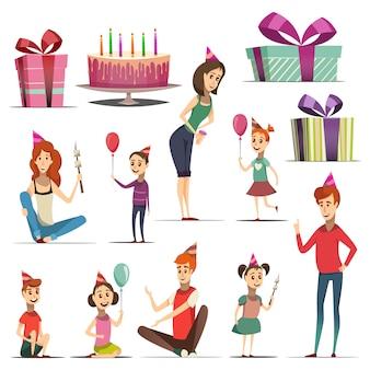Ensemble d'anniversaire d'enfant avec les filles, les garçons et les parents à la fête des chapeaux cadeaux gâteau isolé illustration vectorielle