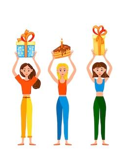 Ensemble d'anniversaire avec des filles et des cadeaux. style de bande dessinée. vecteur.