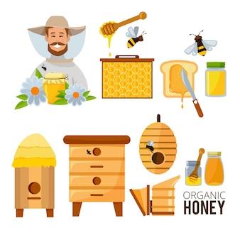 Ensemble d'apiculteur, de ruche et d'abeilles