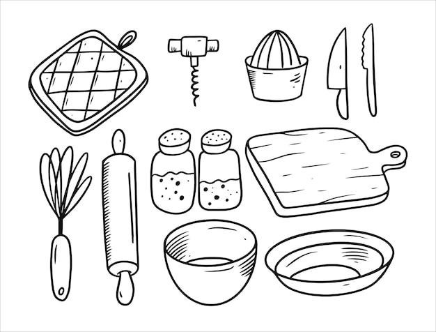 Ensemble d'appareils de cuisine isolé sur blanc