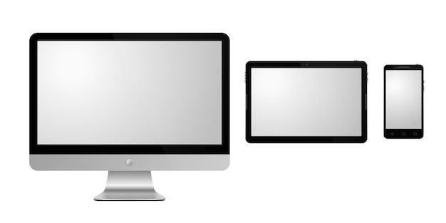 Ensemble d'appareils sur fond blanc. illustration. moniteur, tablette et smartphone réalistes