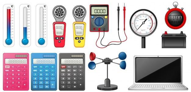 Ensemble d'appareils de mesure sur blanc