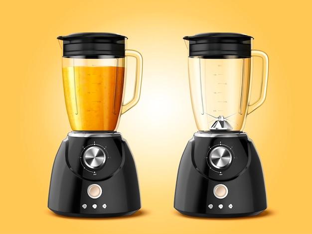 Ensemble d'appareils de mixage presse-agrumes de style 3d, l'un plein de jus et l'autre vide