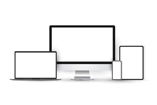 Ensemble d'appareils avec moniteur, ordinateur portable, tablette et smartphone.