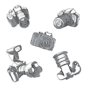 Un ensemble d'appareils photo reflex dans différentes positions sont dessinés à la main.