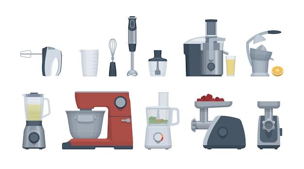 Ensemble d'appareils plats. robot culinaire, mixeur, mixeur et autres.