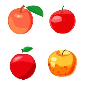 Ensemble apple. jeu de dessin de pomme