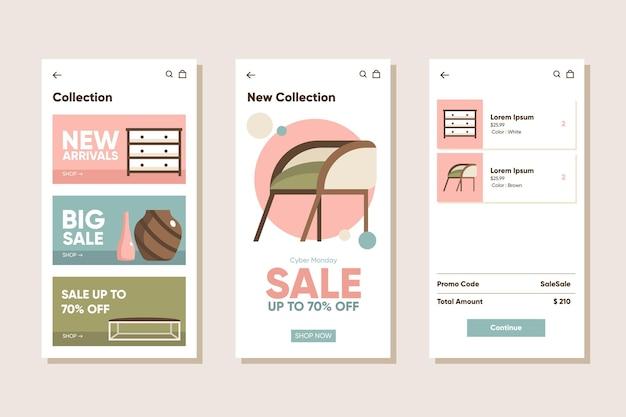 Ensemble d'applications d'achat de meubles