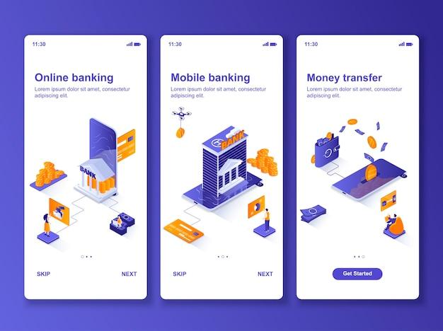 Ensemble d'applications bancaires en ligne isométrique