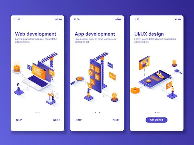 Ensemble d & # 39; applications de développement web isométrique