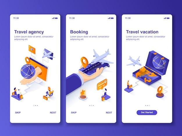 Ensemble d'applications isométrique d'agence de voyage
