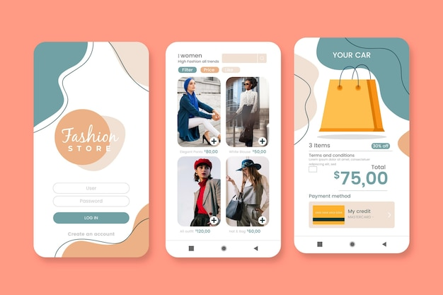 Ensemble d'applications de shopping de mode