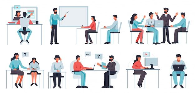 Ensemble d'apprentissage en ligne avec des symboles de coaching et d'atelier illustration plat isolé