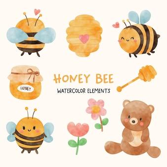 Ensemble d'aquarelle d'abeille de miel