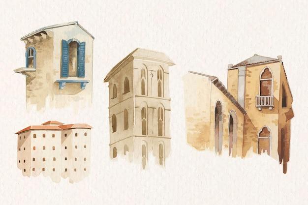 Ensemble d'aquarelle d'architecture européenne vintage
